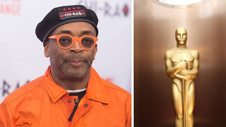 Regissören Spike Lee och en Oscarsstatyett. Foto: Charles Sykes och Matt Sayles/TT.