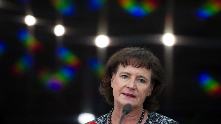 Kommunals förbundsordförande Annelie Nordström vid fredagens pressträff gällande Margot Wallströms lägenhet i Stockholm. Foto: Henrik Montgomery/TT.