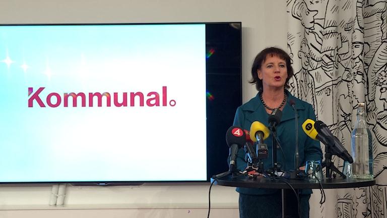 Kommunals ordförande Annelie Nordström. Foto: Karin Wettre/Sveriges Radio.