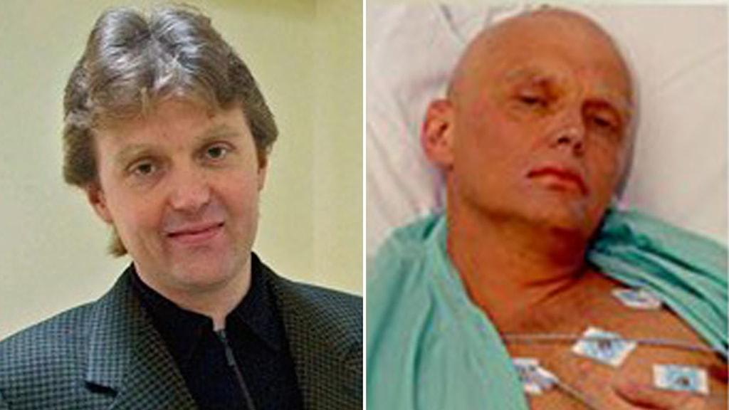 En bild på Alexander Litvinenko, frisk till vänster från 2006 och sjuk utan hår i en sjukhussäng till höger. Foto: TT
