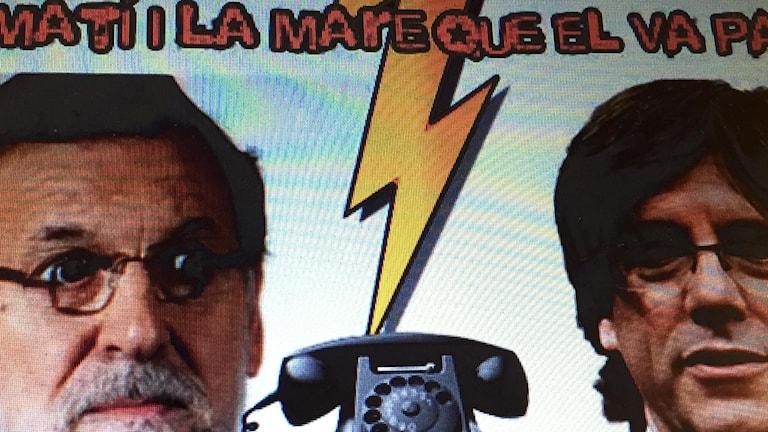 montage från youtube på rajoy och Puigdemont samt en telefon med ett blixnedslag