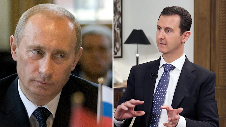 Vladimir Putin och Bashar al-Assad. Foto:  Foto: Rob Keeris/TT, AP