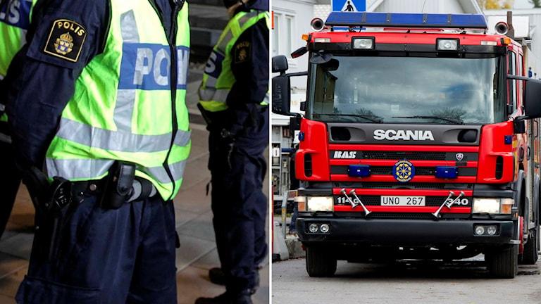 Brandmän och polis. Foto: Pontus Lundahl/TT, Stig-Åke Jönsson/TT.