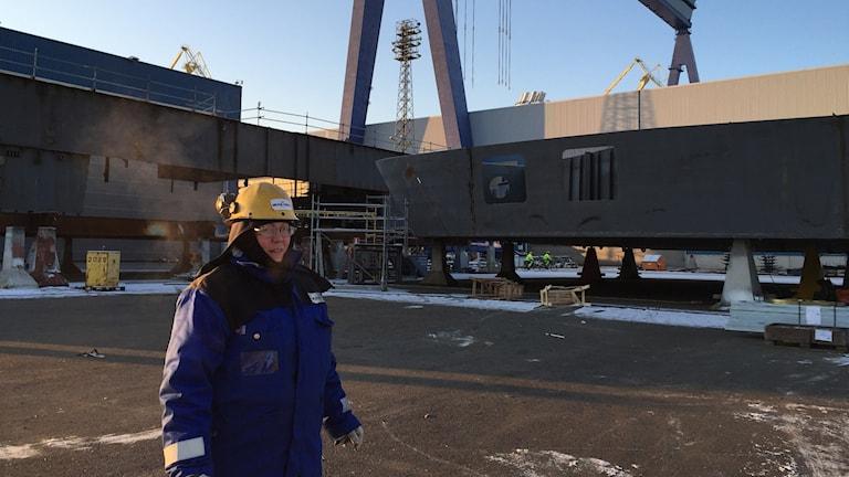 Svetsaren Minna Herrala jobbar i en finländsk framgångsbransch, varvsindustrin. Foto: Thella Johnson