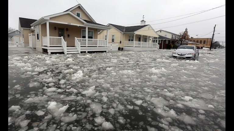 Snöblandat vatten omger hus. Foto: Dale Gerhard/TT.