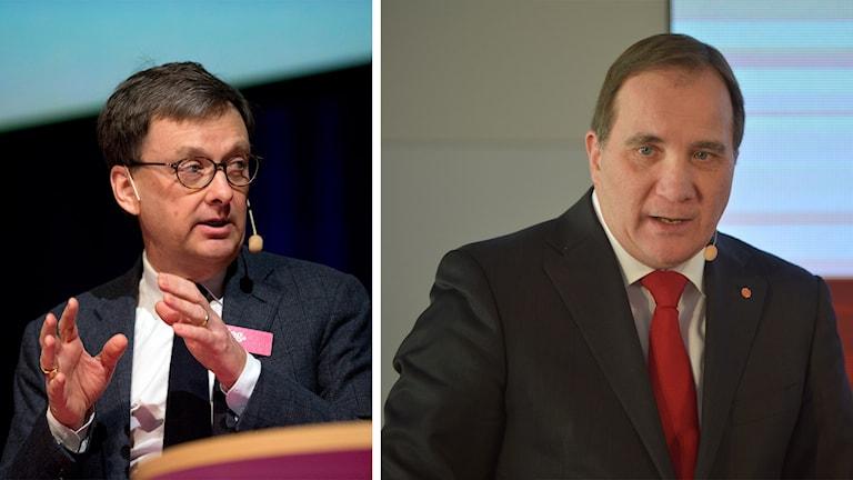 Toivo Sjörén och statsminister Stefan Löfven (S). Foto: Adam Ihse och Henrik Montgomery/TT.