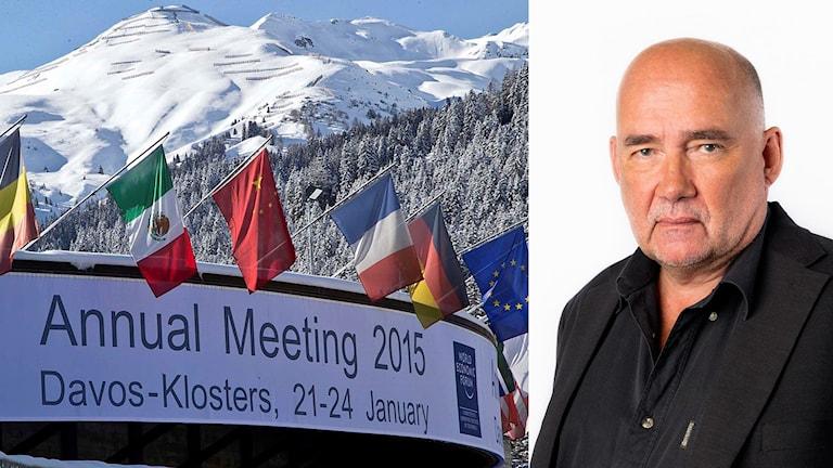 Toppmötet i Davos och korrespondent Staffan Sonning. Foto: Foto: Michel Euler/TT, Mattias Ahlm/Sveriges Radio