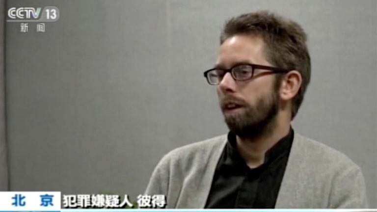Peter Dahlin i kinesisk tv. Foto: TT.