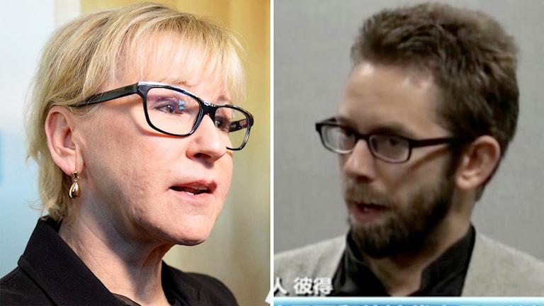 Margot Wallström samt Peter Dahlin. Foto: Marcus Ericsson/TT samt kinesisk tv.