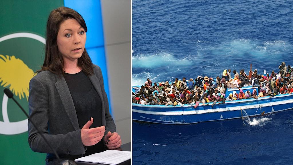 Miljöpartisten Maria Ferm och migranter som räddas av kustbevakningen på Medelhavet. Bilden är ett montage