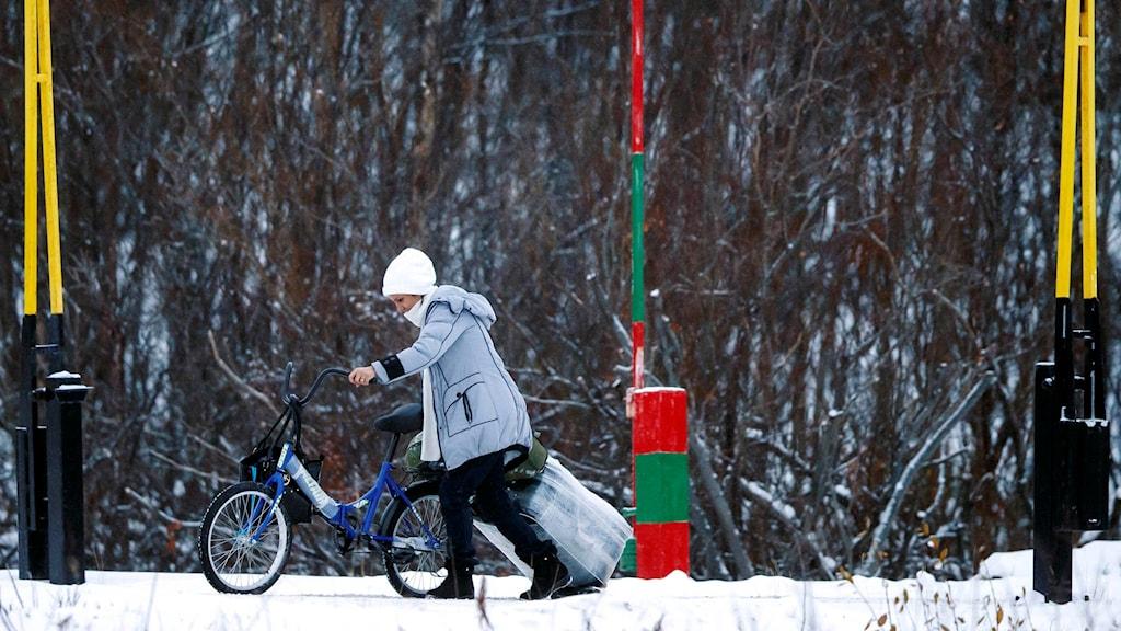 En asylsökande kvinna korsar rysk-norska gränsen. Foto: Cornelius Poppe / TT