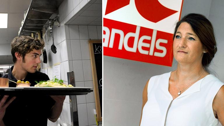 Restaurangpersonal till vänster och Handels ordförande Susanna Giedonsson till höger