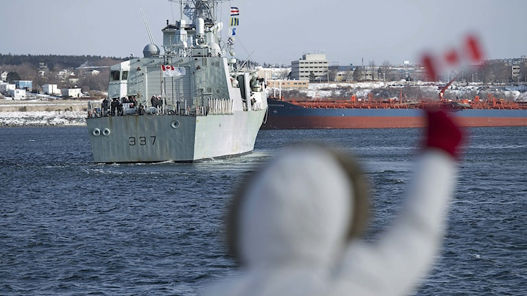 Ett kanadensiskt fartyg skickas till Medelhavet för att ansluta till Natos styrkor där. Foto: Andrew Vaughan/TT.