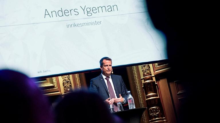 Inrikesminister Anders Ygeman på Di:s Världenkonferens i Stockholm på torsdagen. Foto: Marcus Ericsson / TT.