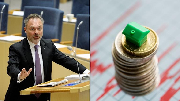 Delad bild: Jan Björklund i Riksdagen och en myntstapel med ett grönt hus överst.