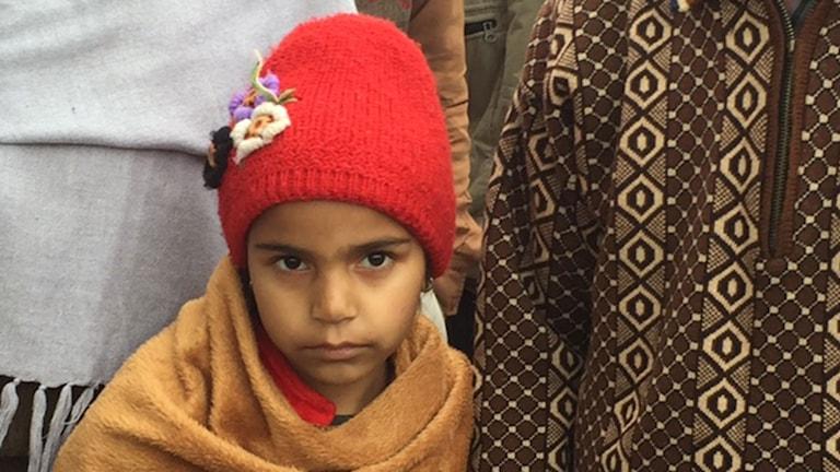 Fem-åriga Aanchal i röd stickad mössa har insjuknat i leukemi. Foto: Margita Boström/Sveriges Radio.