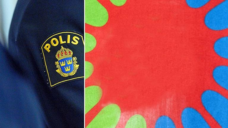 Polismärke och romsk flagga. Foto: TT