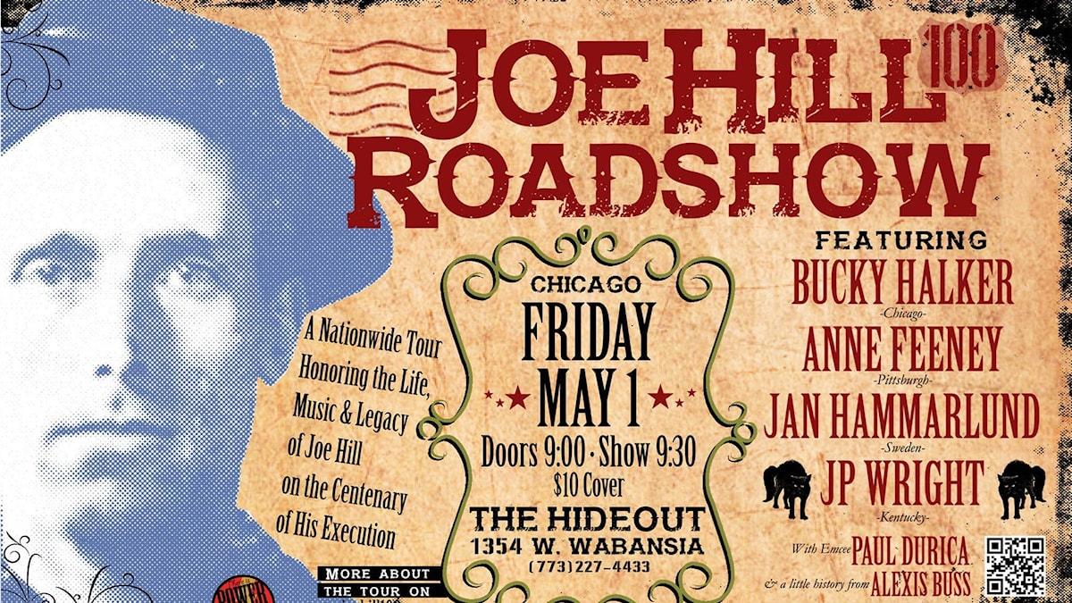 Joe Hill Roadshow, affisch för spelning i Chicago maj-14.