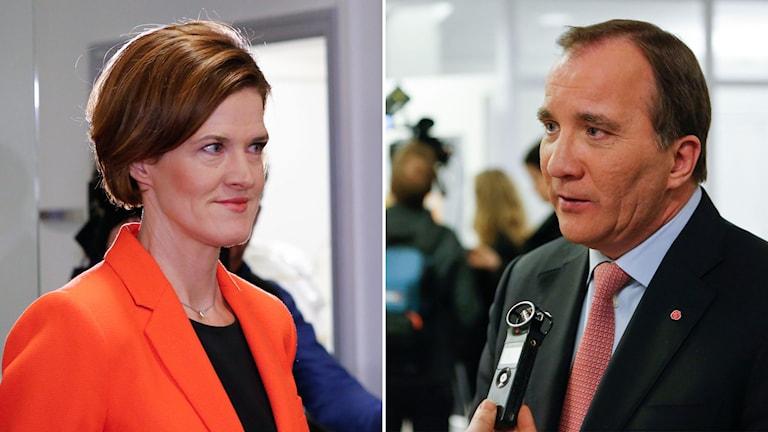 Anna Kinberg Batra i orange kavaj och Stefan Löfven i kostym.