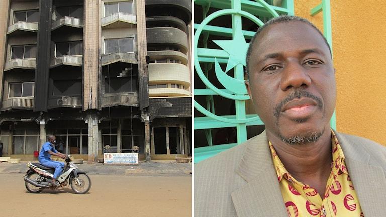 Delad bild: utbränt hotell och mörkhyad man som tittar in i kameran