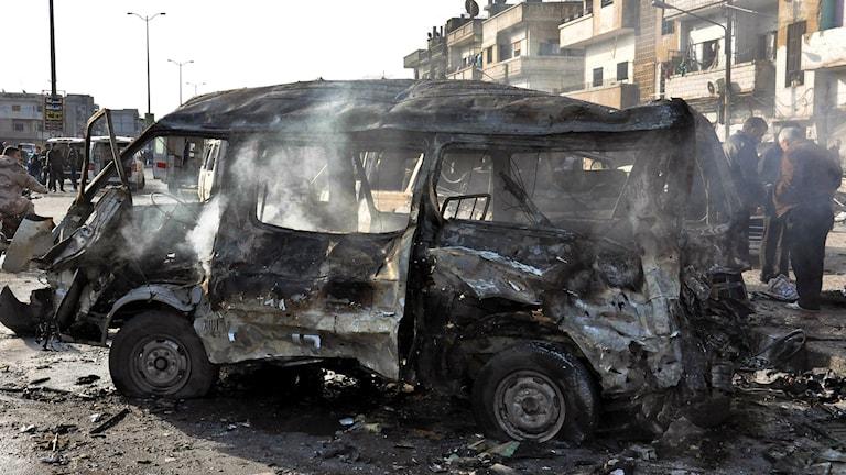 Bilbomb i Homs, Syrien Foto: Foto: SANA via AP
