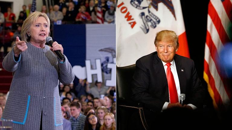 Demokraternas kandidat Hillary Clinton. Republikanernas Donald Trump. Foto: TT. Montage: Sveriges Radio.
