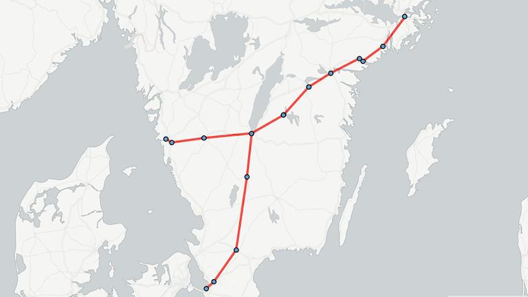 Karta med orter där snabbtågen föreslås stanna. Grafik: Sveriges Radio.