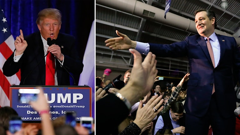 Bildmontage på Donald Trump och Ted Cruz