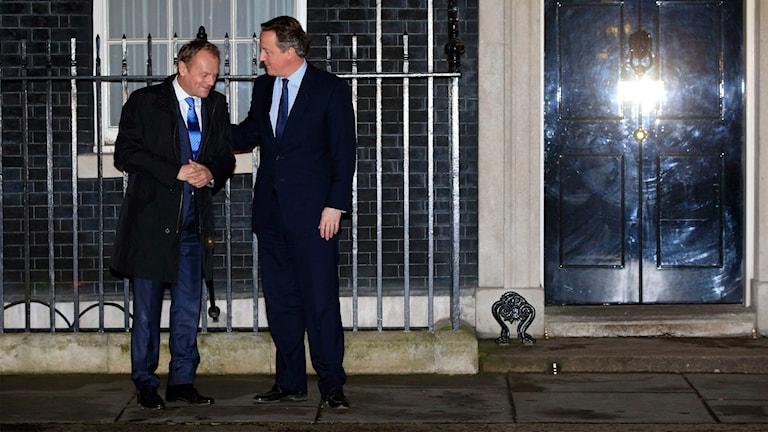 Storbritanniens premiärminister David Cameron tar emot Donald Tusk på Downing Street i London bara några dagar innan förslaget lades fram.