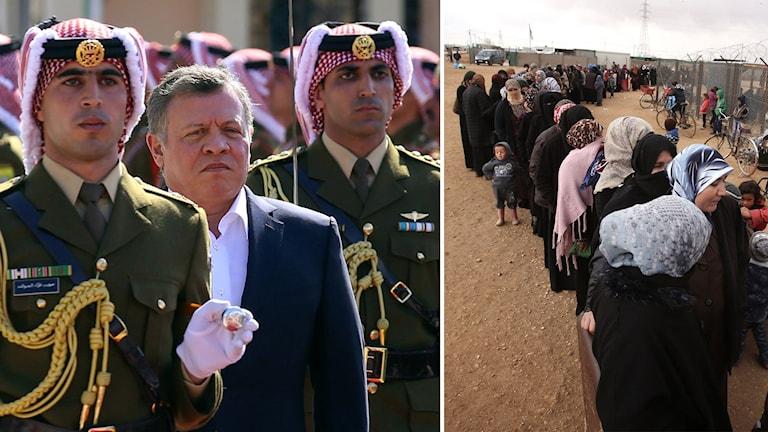 Jordaniens Kung Abdullah II och syriska flyktingar i kö vid jordanskt flyktingläger.