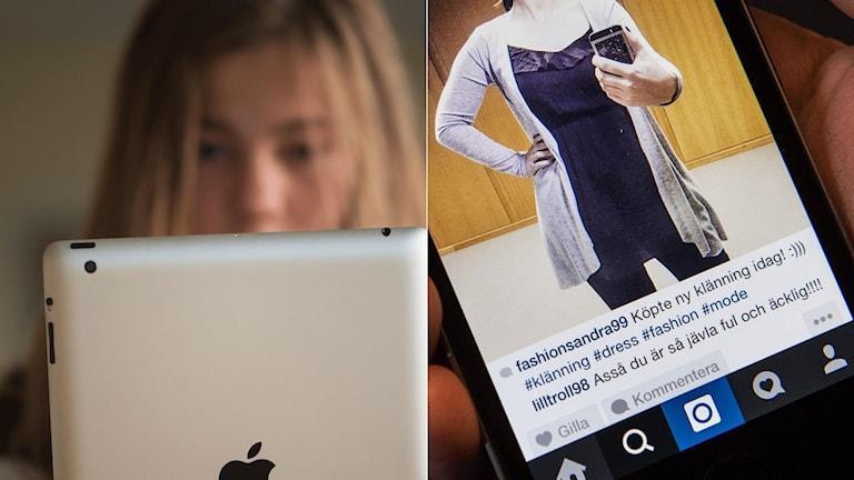 Flicka tittar på en skärm. Bild på instragram med hatkommentar om att en flicka är ful och äcklig.