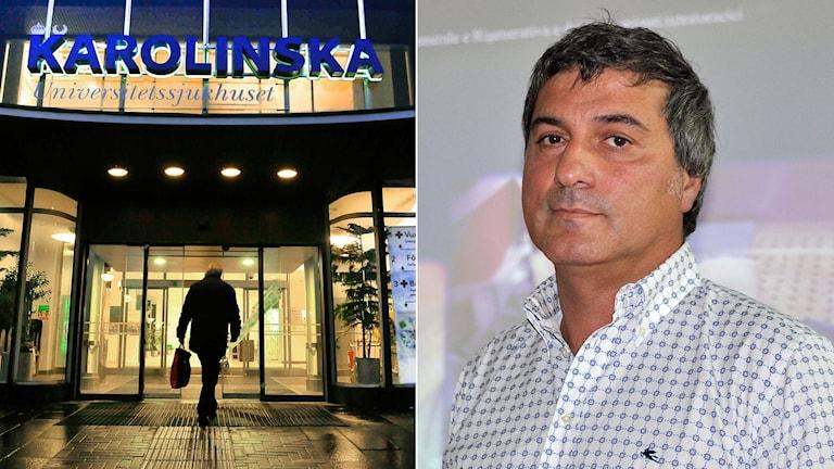 Entréen till Karolinska sjukhuset i Solna. Den kritiserade kirurgen Paolo Macchiarini.