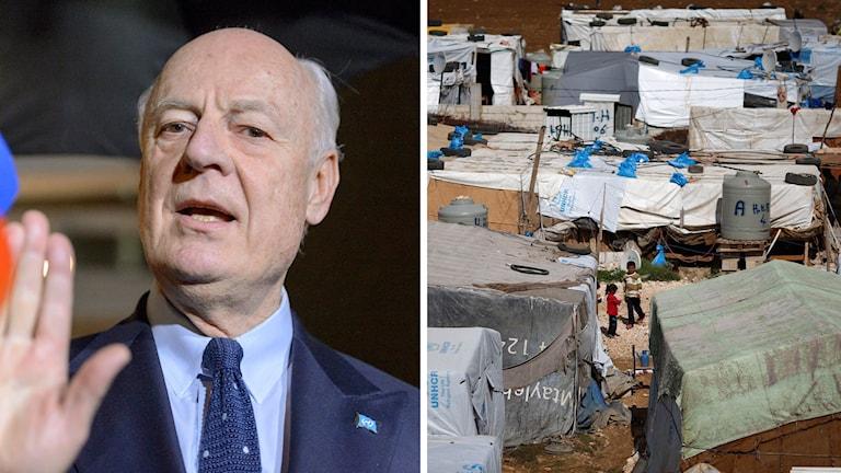 FN:s särskilda sändebud Staffan de Mistura (t.v.) beslutade i går att ta en paus i samtalen.