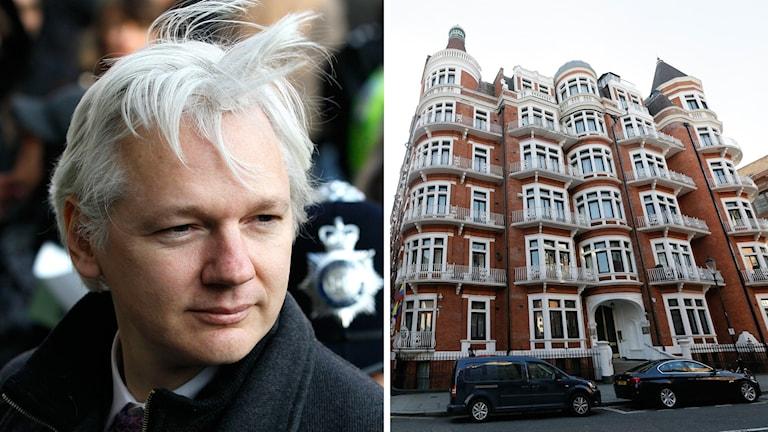 Julian Assange (t.v.) och Ecuadors ambassad i London (t.h.).
