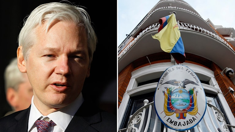 Julian Assange och bild på Ecuadors ambassad i London. Foto: Kirsty Wigglesworth/AP/TT,