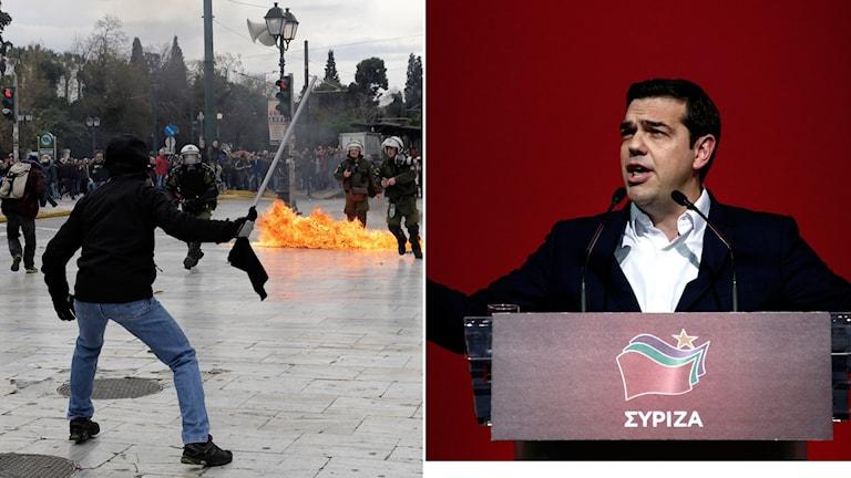 Demonstranter i Aten. Greklands premiärminister Alexis Tsipras