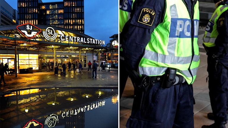 Klarabergsviadukten i Stockholm och genrebild polis.