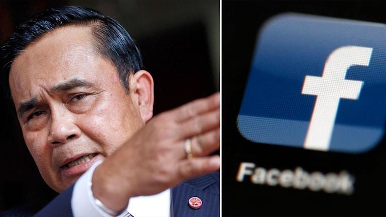 Thailands premiärminister och en facebooklogga.