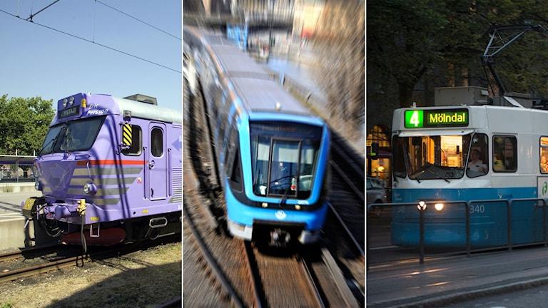 Ett Pågatåg i Skåne, ett tunnelbanetåg i Stockholm och en spårvagn i Göteborg.