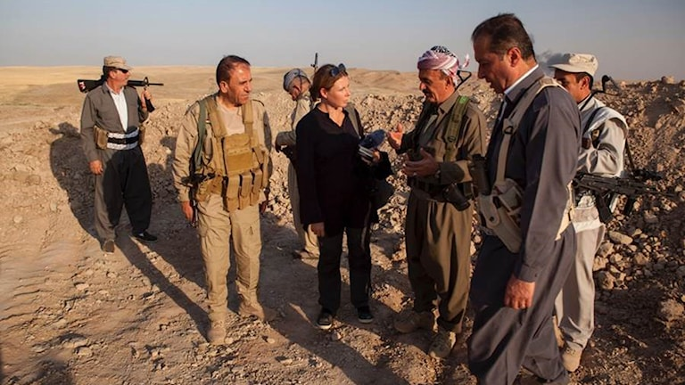 Terese Cristiansson i arbete strax utanför Erbil i norra Irak.