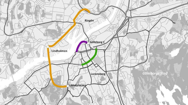 Nya spårvagnssträckor Göteborg