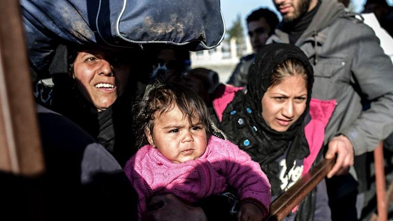 Syriska flyktingar vid gränsen mellan Syrien och Turkiet. Foto: Bulent Kilic/TT.