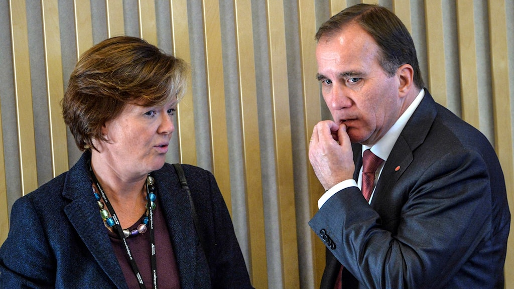 Carin Jämtin och Stefan Löfven. Foto: Henrik Montgomery/TT.