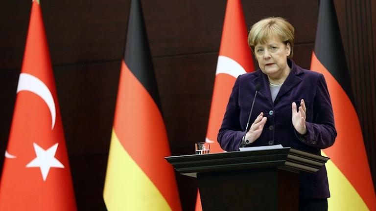 Angela Merkel under pressträffen i Turkiet. Foto: Adem Altan/TT.