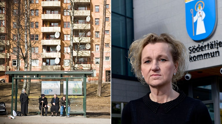 Hyreshus i stadsdelen Ronna i Södertälje. S-kommunalrådet Boel Godner framför kommunhuset i Södertälje.