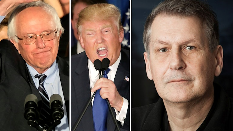 Delad bild: Bernie Sanders, Donald Trump och Sten Sjöström. Foto: J. David Ake/TT och David Goldman/TT samt Pablo Dalence/Sveriges Radio.