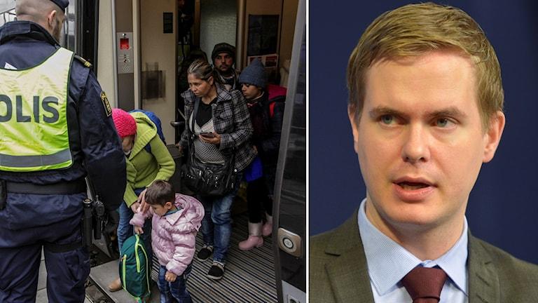 Delad bild: Flyktingar på Hyllie station samt Gustav Fridolin. Foto: Stig-Åke Jönsson samt Henrik Montgomery/TT.