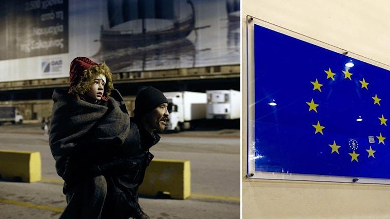 En man bär ett barn efter ankomst till Greklands fastland.
