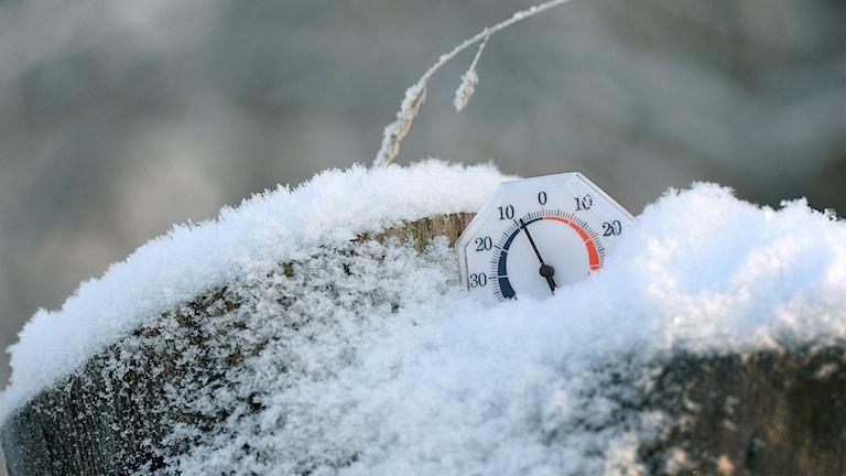 Termometer visar minusgrader.
