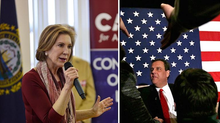 De republikanska presidentkandidaterna Carly Fiorina och Chris Christie.
